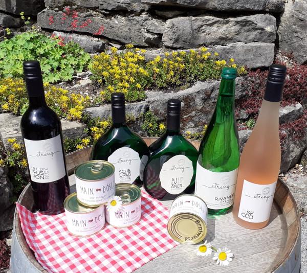 Weinverkostung mit fränkischer Vesper für daheim